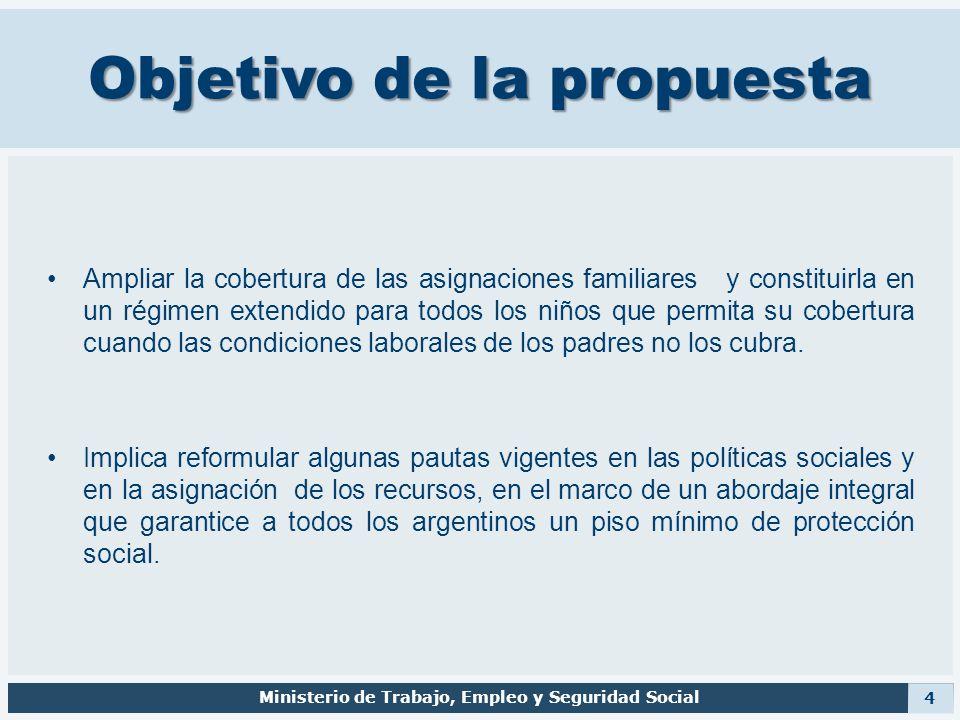 Objetivo de la propuesta Ampliar la cobertura de las asignaciones familiares y constituirla en un régimen extendido para todos los niños que permita s