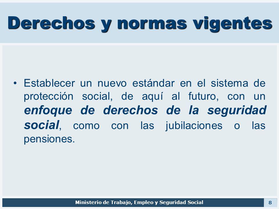 Derechos y normas vigentes Establecer un nuevo estándar en el sistema de protección social, de aquí al futuro, con un enfoque de derechos de la seguri