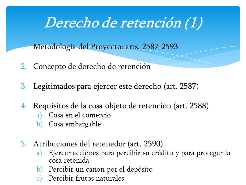 1.Metodología del Proyecto: arts. 2587-2593 2.Concepto de derecho de retención 3.Legitimados para ejercer este derecho (art. 2587) 4.Requisitos de la