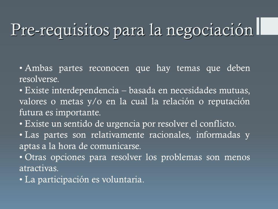Pre-requisitos para la negociación Ambas partes reconocen que hay temas que deben resolverse. Existe interdependencia – basada en necesidades mutuas,