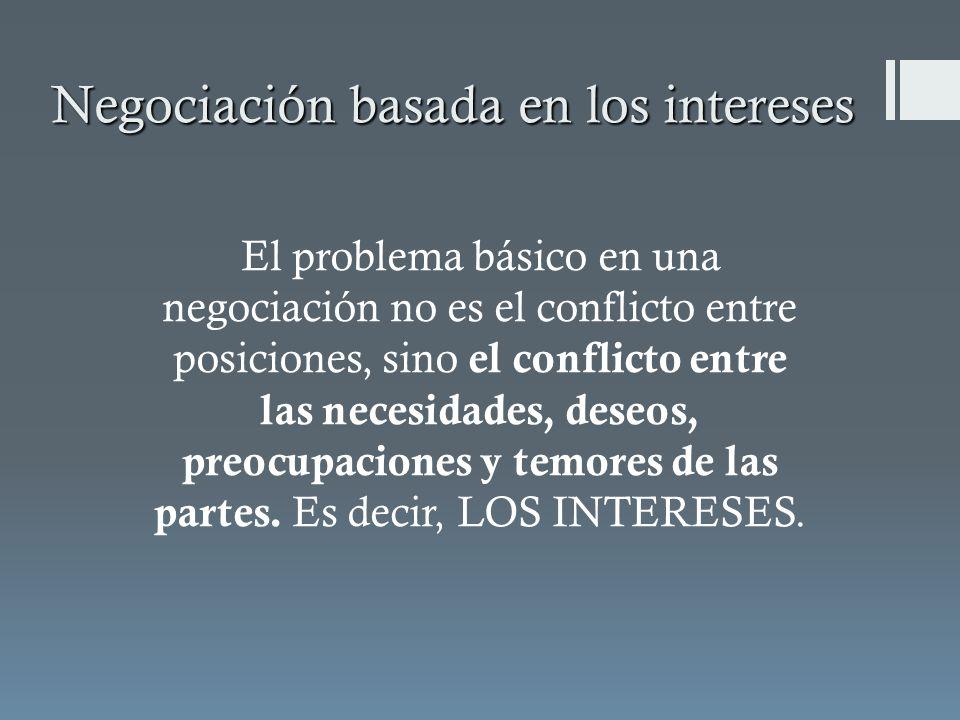 Negociación basada en los intereses El problema básico en una negociación no es el conflicto entre posiciones, sino el conflicto entre las necesidades