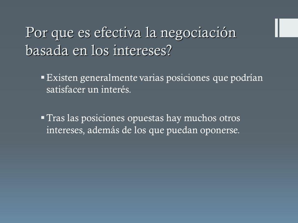 Por que es efectiva la negociación basada en los intereses? Existen generalmente varias posiciones que podrían satisfacer un interés. Tras las posicio