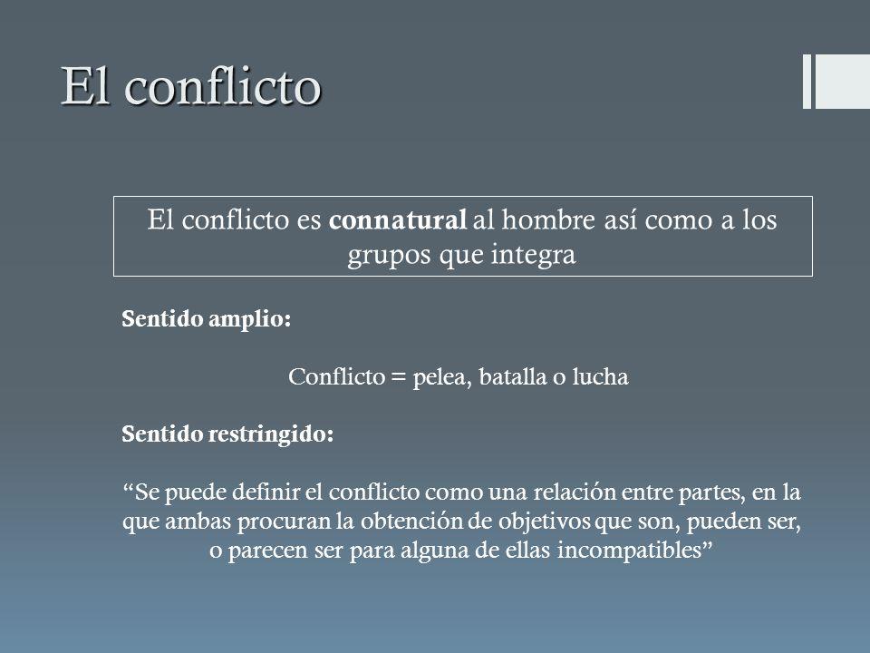 El conflicto El conflicto es connatural al hombre así como a los grupos que integra Sentido amplio: Conflicto = pelea, batalla o lucha Sentido restrin