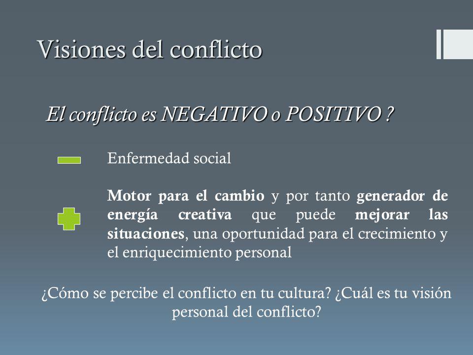 El conflicto es NEGATIVO o POSITIVO ? Visiones del conflicto Enfermedad social Motor para el cambio y por tanto generador de energía creativa que pued