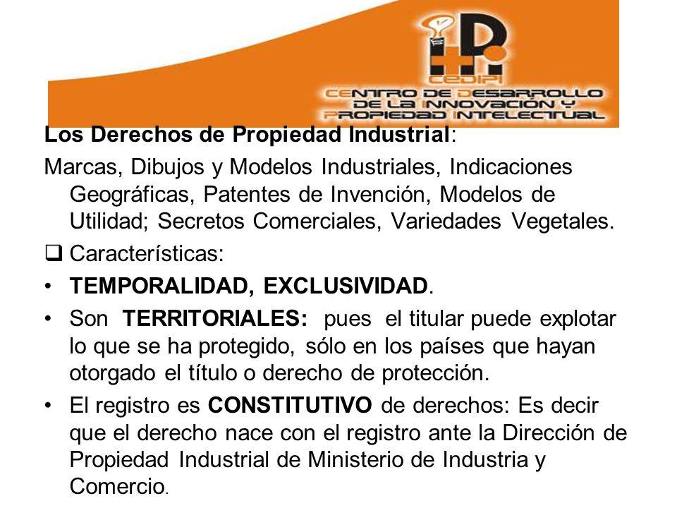 Los Derechos de Propiedad Industrial: Marcas, Dibujos y Modelos Industriales, Indicaciones Geográficas, Patentes de Invención, Modelos de Utilidad; Secretos Comerciales, Variedades Vegetales.