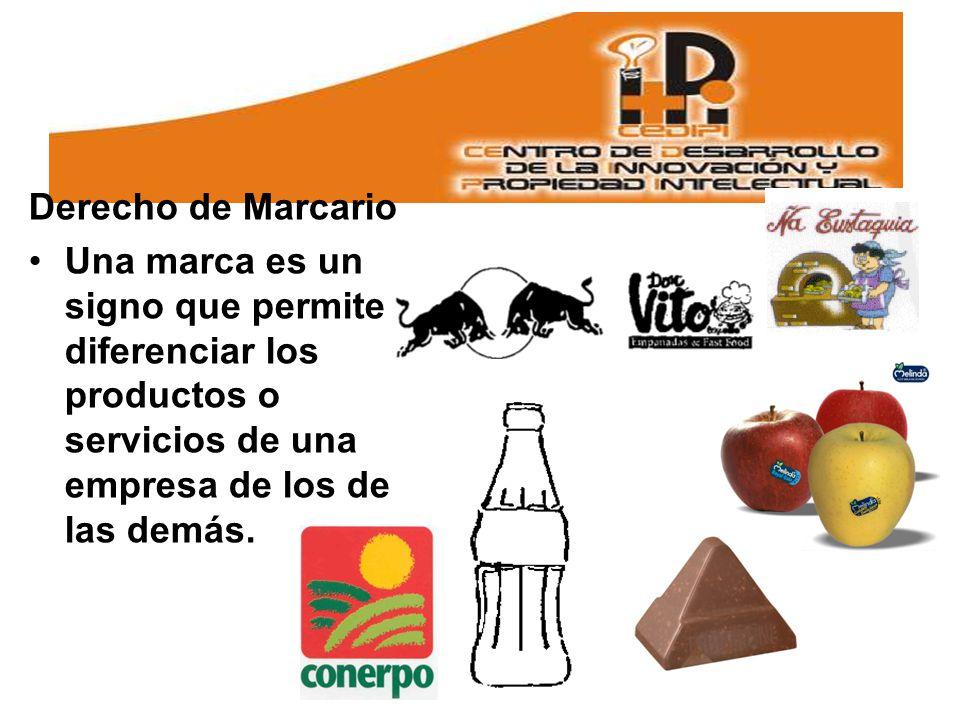 Derecho de Marcario Una marca es un signo que permite diferenciar los productos o servicios de una empresa de los de las demás.