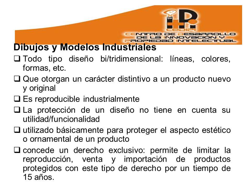Dibujos y Modelos Industriales Todo tipo diseño bi/tridimensional: líneas, colores, formas, etc.