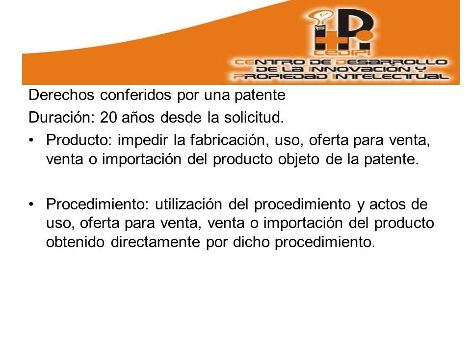 Derechos conferidos por una patente Duración: 20 años desde la solicitud.