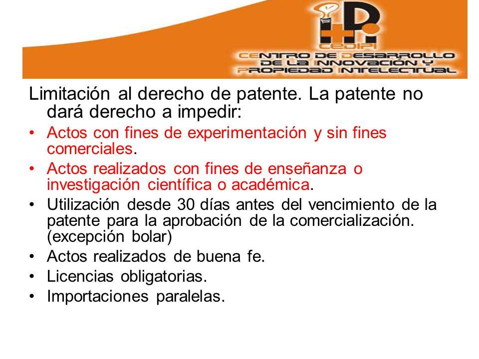 Limitación al derecho de patente.