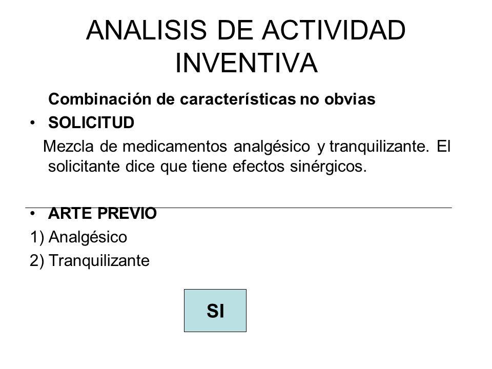 ANALISIS DE ACTIVIDAD INVENTIVA Combinación de características no obvias SOLICITUD Mezcla de medicamentos analgésico y tranquilizante.