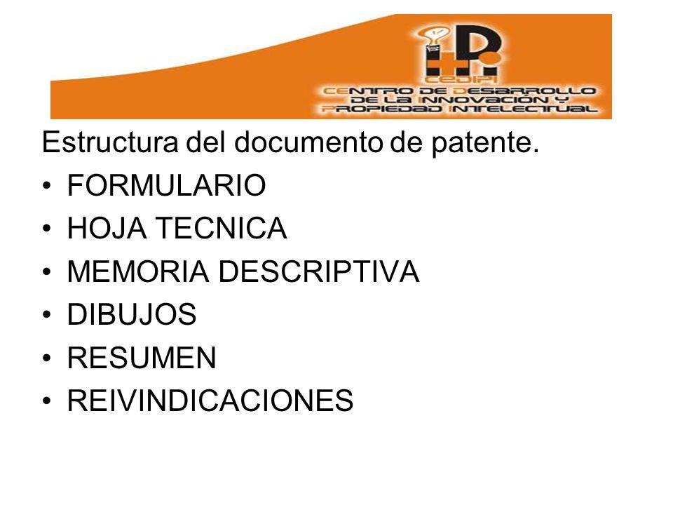 Estructura del documento de patente.