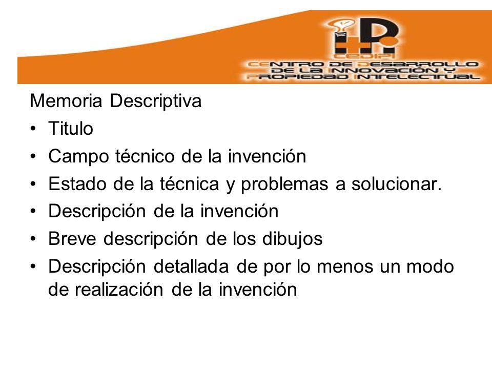 Memoria Descriptiva Titulo Campo técnico de la invención Estado de la técnica y problemas a solucionar.