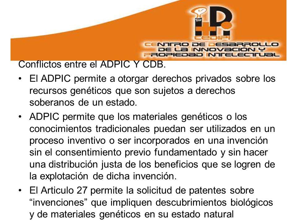 Conflictos entre el ADPIC Y CDB.