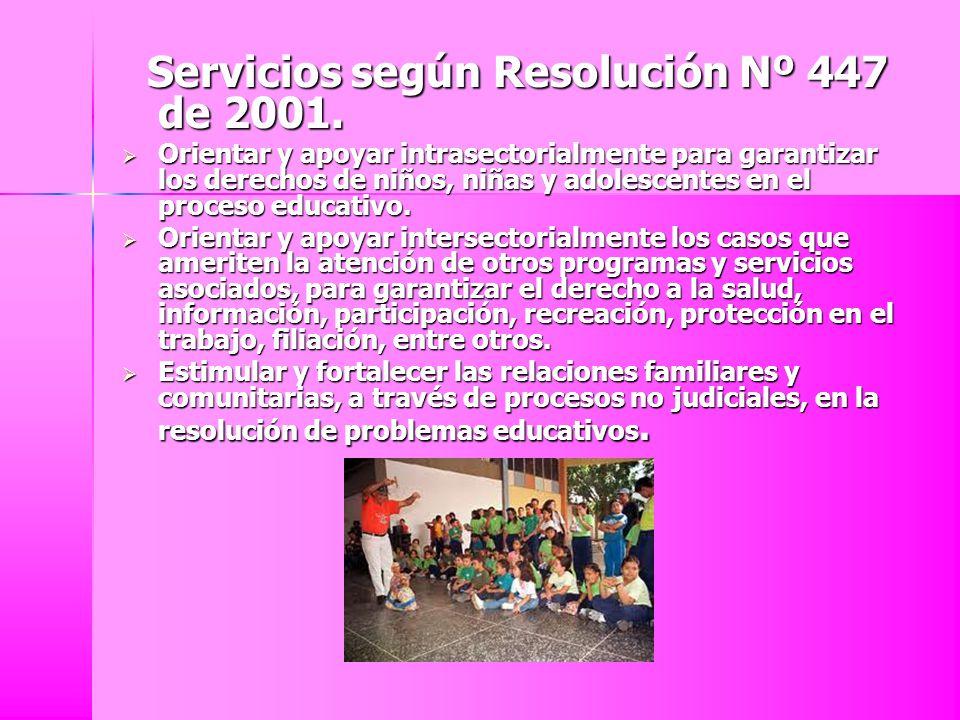 Servicios según Resolución Nº 447 de 2001. Servicios según Resolución Nº 447 de 2001. Orientar y apoyar intrasectorialmente para garantizar los derech