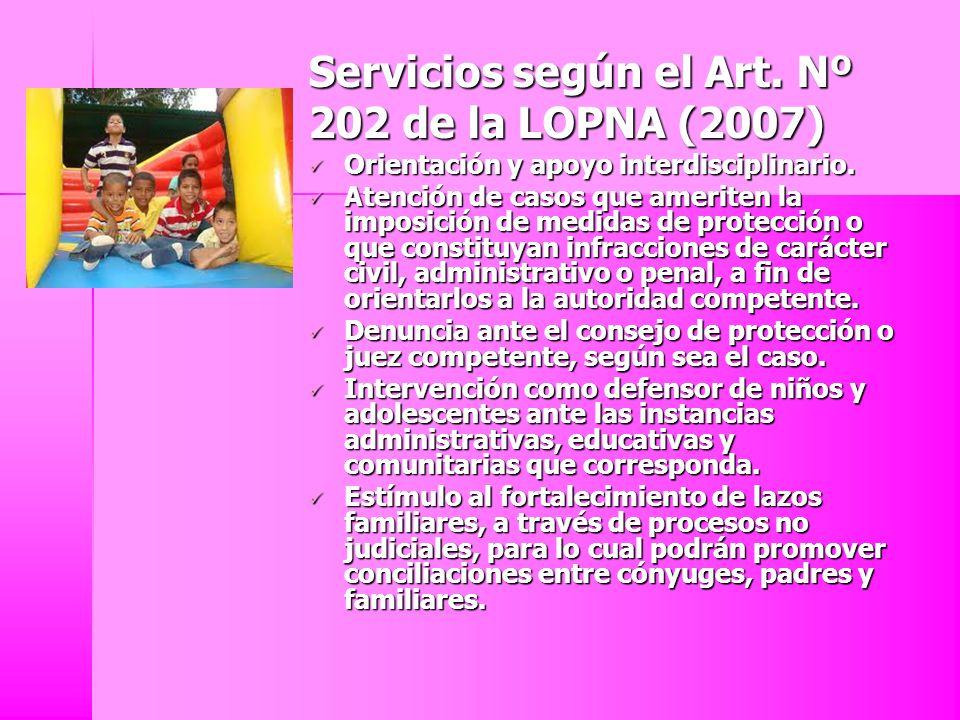 Servicios según el Art. Nº 202 de la LOPNA (2007) Orientación y apoyo interdisciplinario. Orientación y apoyo interdisciplinario. Atención de casos qu