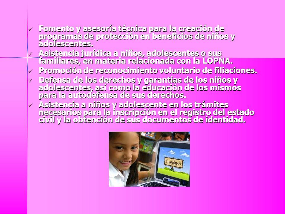 Fomento y asesoría técnica para la creación de programas de protección en beneficios de niños y adolescentes. Fomento y asesoría técnica para la creac