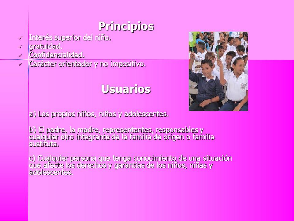 Principios Interés superior del niño. gratuidad. Confidencialidad. Carácter orientador y no impositivo. Usuarios a) Los propios niños, niñas y adolesc