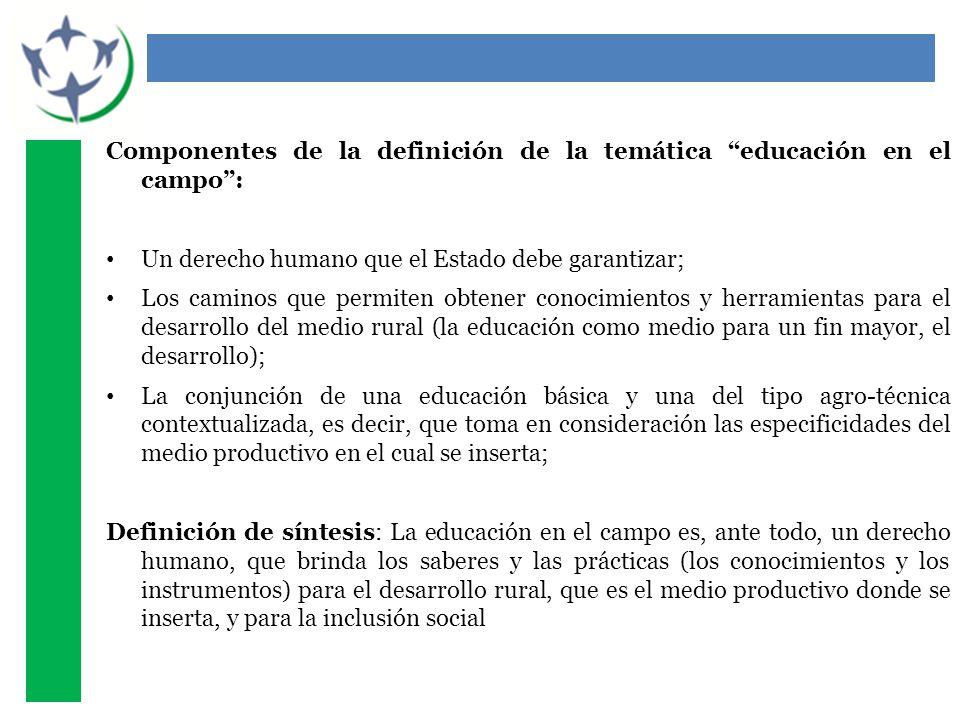 Componentes de la definición de la temática educación en el campo: Un derecho humano que el Estado debe garantizar; Los caminos que permiten obtener c