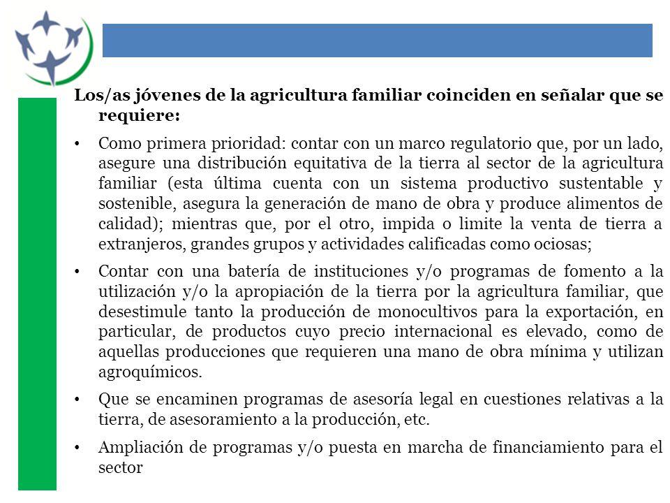 Los/as jóvenes de la agricultura familiar coinciden en señalar que se requiere: Como primera prioridad: contar con un marco regulatorio que, por un la