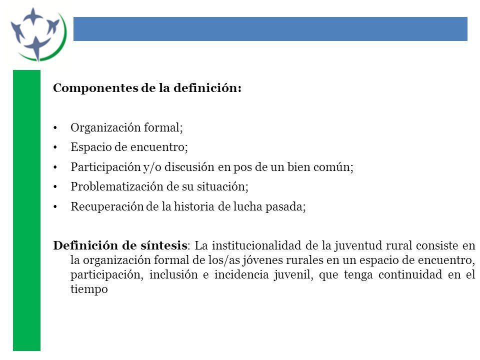 Componentes de la definición: Organización formal; Espacio de encuentro; Participación y/o discusión en pos de un bien común; Problematización de su s
