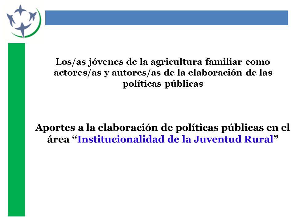 Los/as jóvenes de la agricultura familiar como actores/as y autores/as de la elaboración de las políticas públicas Aportes a la elaboración de políticas públicas en el área Institucionalidad de la Juventud Rural