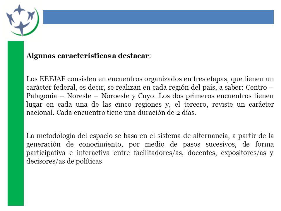 Algunas características a destacar: Los EEFJAF consisten en encuentros organizados en tres etapas, que tienen un carácter federal, es decir, se realizan en cada región del país, a saber: Centro – Patagonia – Noreste – Noroeste y Cuyo.