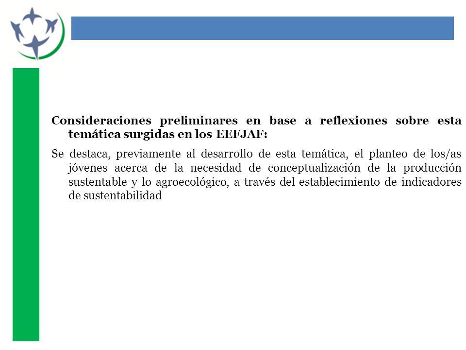 Consideraciones preliminares en base a reflexiones sobre esta temática surgidas en los EEFJAF: Se destaca, previamente al desarrollo de esta temática, el planteo de los/as jóvenes acerca de la necesidad de conceptualización de la producción sustentable y lo agroecológico, a través del establecimiento de indicadores de sustentabilidad