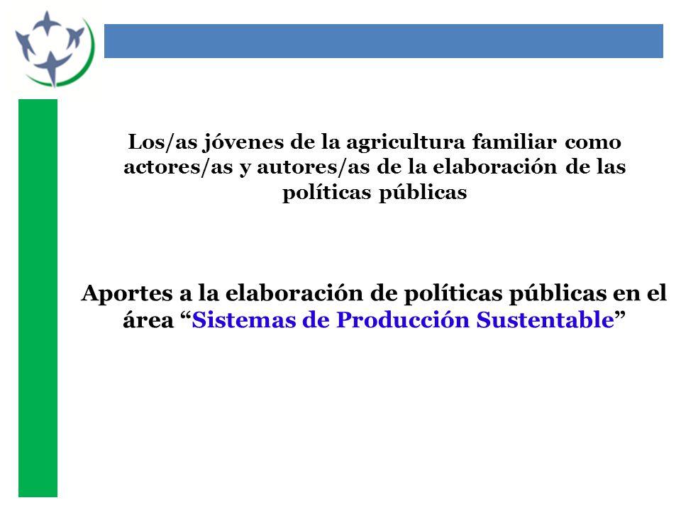 Los/as jóvenes de la agricultura familiar como actores/as y autores/as de la elaboración de las políticas públicas Aportes a la elaboración de políticas públicas en el área Sistemas de Producción Sustentable