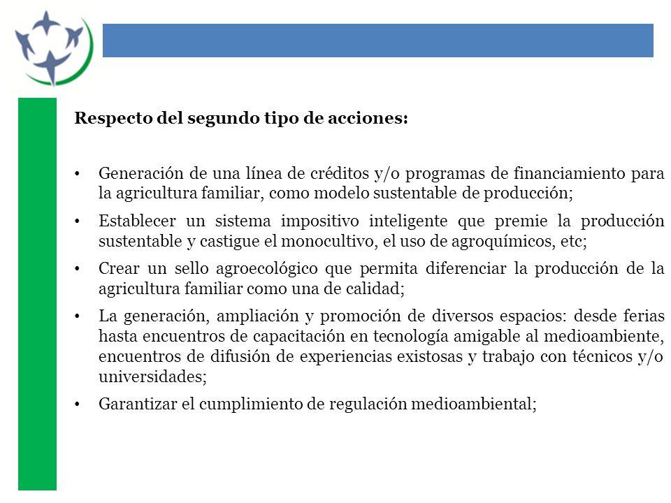 Respecto del segundo tipo de acciones: Generación de una línea de créditos y/o programas de financiamiento para la agricultura familiar, como modelo s