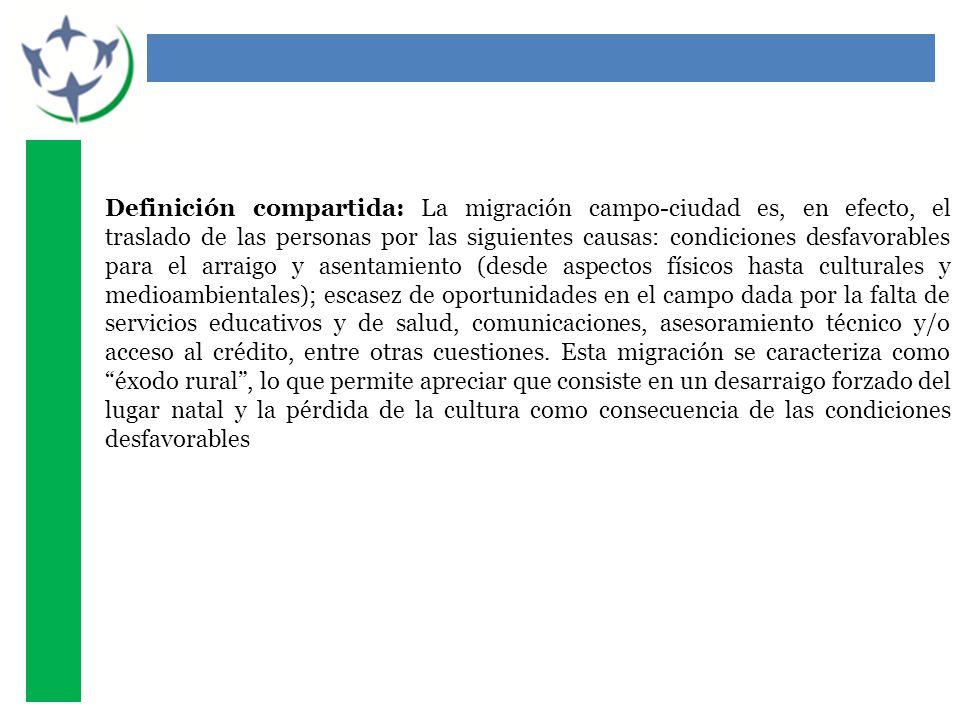 Definición compartida: La migración campo-ciudad es, en efecto, el traslado de las personas por las siguientes causas: condiciones desfavorables para