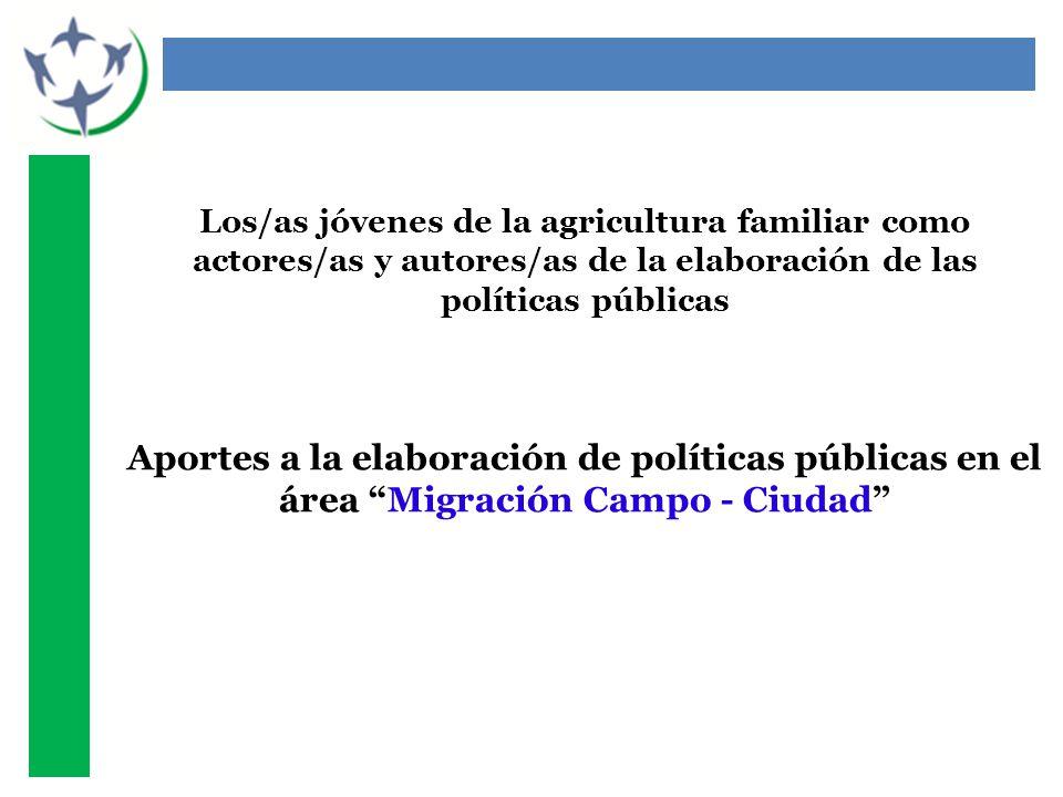 Los/as jóvenes de la agricultura familiar como actores/as y autores/as de la elaboración de las políticas públicas Aportes a la elaboración de políticas públicas en el área Migración Campo - Ciudad