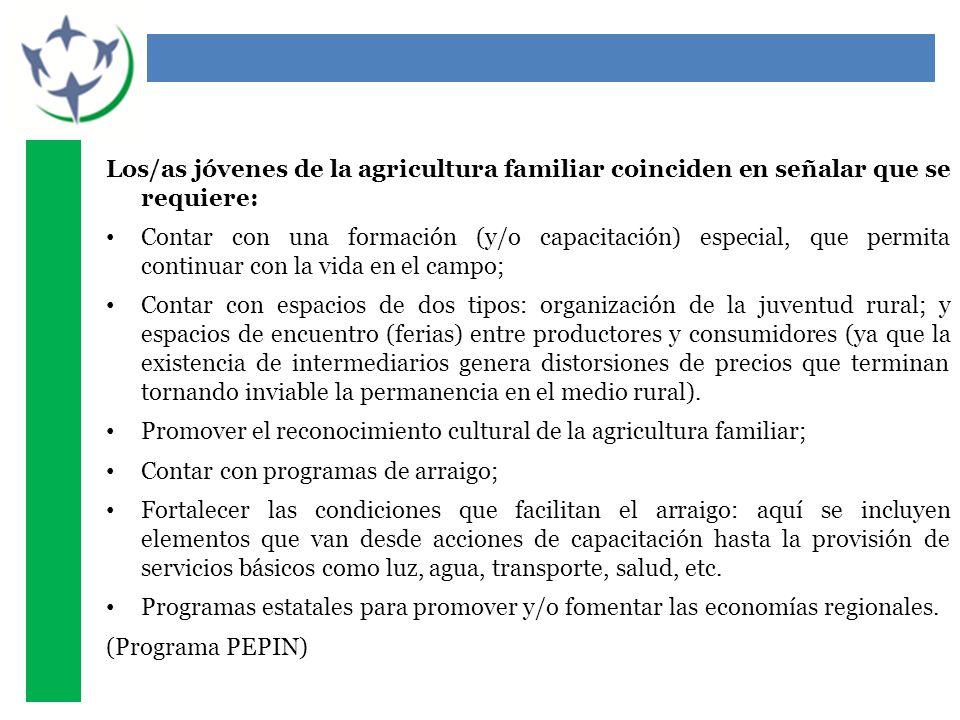 Los/as jóvenes de la agricultura familiar coinciden en señalar que se requiere: Contar con una formación (y/o capacitación) especial, que permita cont