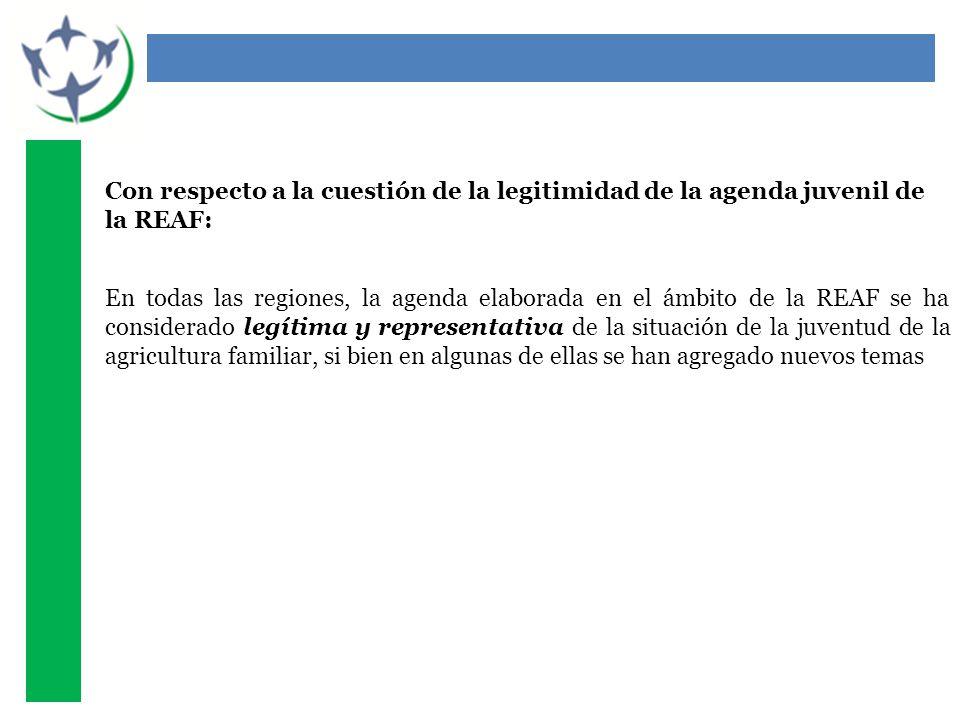Con respecto a la cuestión de la legitimidad de la agenda juvenil de la REAF: En todas las regiones, la agenda elaborada en el ámbito de la REAF se ha considerado legítima y representativa de la situación de la juventud de la agricultura familiar, si bien en algunas de ellas se han agregado nuevos temas