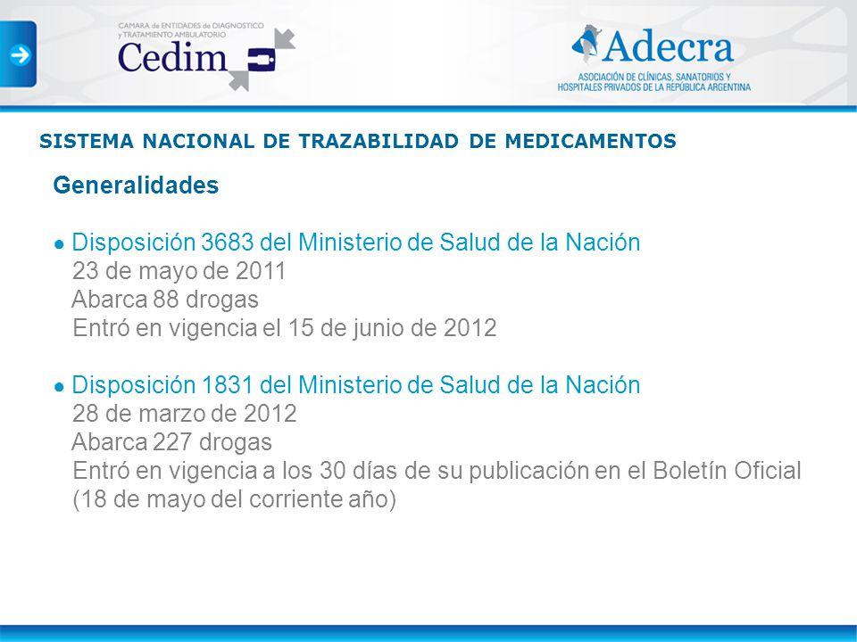 Generalidades Disposición 3683 del Ministerio de Salud de la Nación 23 de mayo de 2011 Abarca 88 drogas Entró en vigencia el 15 de junio de 2012 Dispo