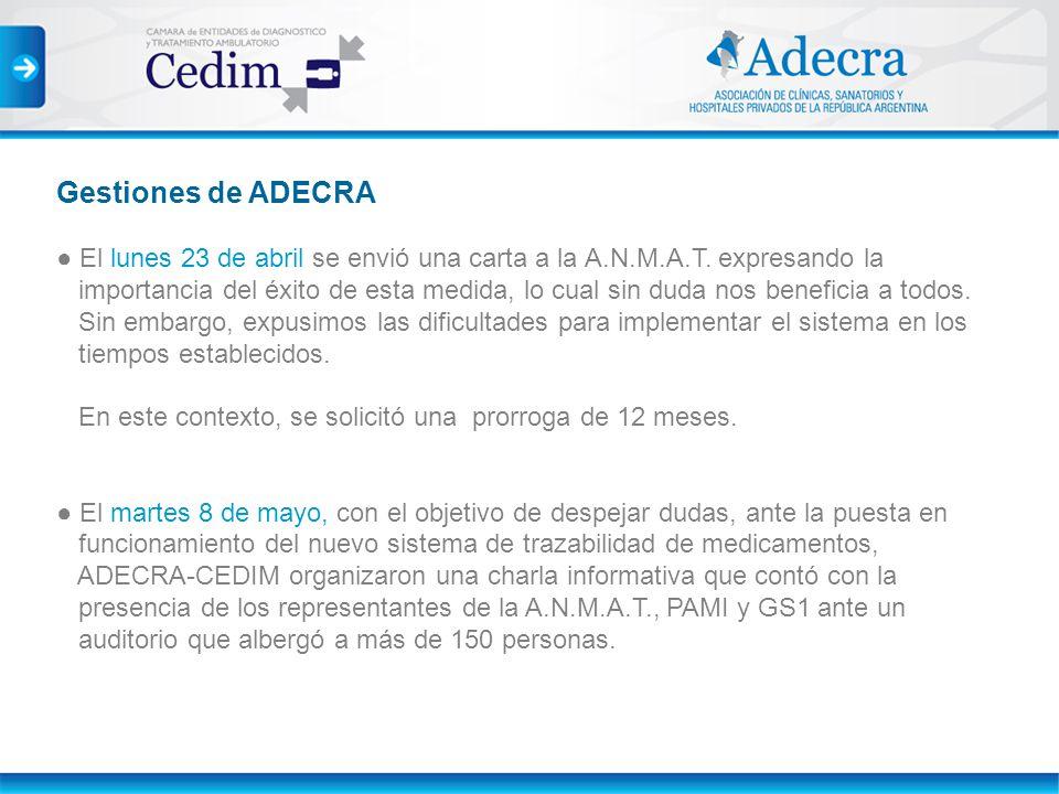 Gestiones de ADECRA El lunes 23 de abril se envió una carta a la A.N.M.A.T. expresando la importancia del éxito de esta medida, lo cual sin duda nos b
