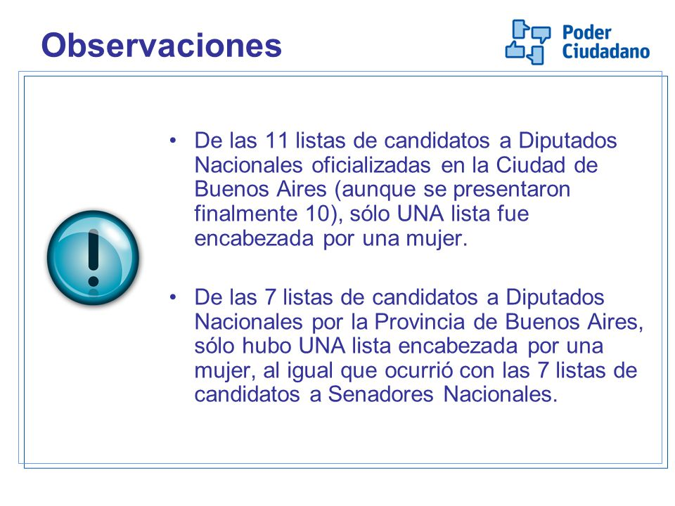 Observaciones De las 11 listas de candidatos a Diputados Nacionales oficializadas en la Ciudad de Buenos Aires (aunque se presentaron finalmente 10), sólo UNA lista fue encabezada por una mujer.