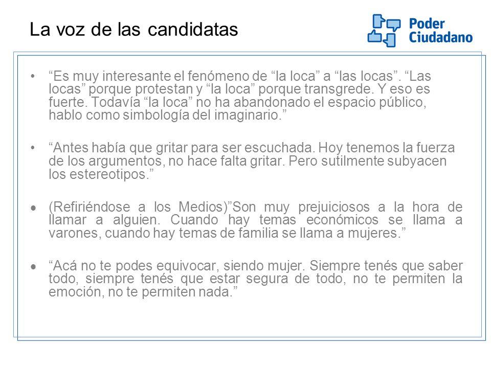 La voz de las candidatas Es muy interesante el fenómeno de la loca a las locas.