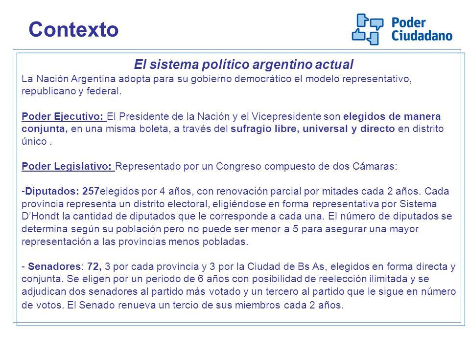 Contexto El sistema político argentino actual La Nación Argentina adopta para su gobierno democrático el modelo representativo, republicano y federal.