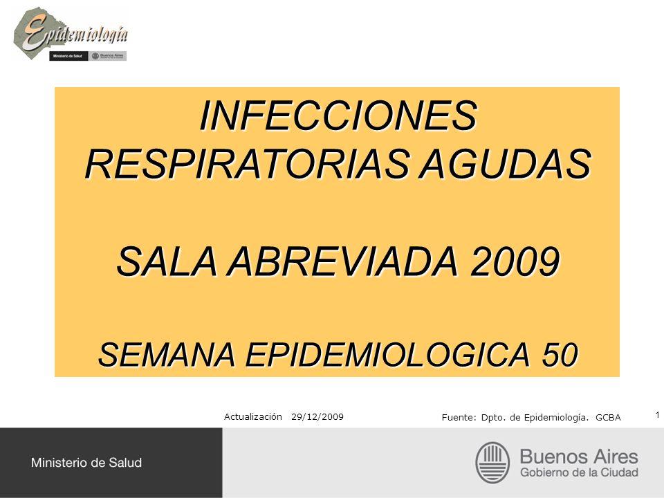 INFECCIONES RESPIRATORIAS AGUDAS SALA ABREVIADA 2009 SEMANA EPIDEMIOLOGICA 50 Actualización 29/12/2009 Fuente: Dpto. de Epidemiología. GCBA 1