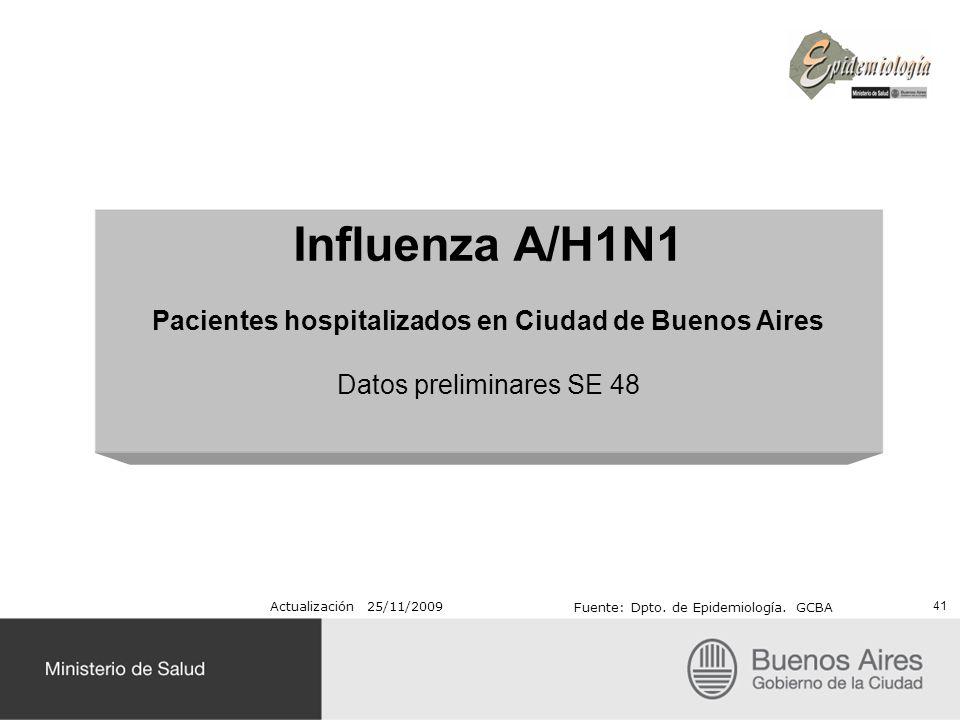 Influenza A/H1N1 Pacientes hospitalizados en Ciudad de Buenos Aires Datos preliminares SE 48 41 Actualización 25/11/2009 Fuente: Dpto. de Epidemiologí