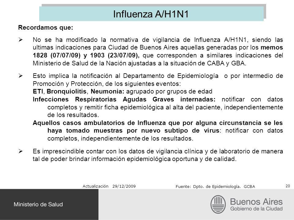 Recordamos que: No se ha modificado la normativa de vigilancia de Influenza A/H1N1, siendo las ultimas indicaciones para Ciudad de Buenos Aires aquell