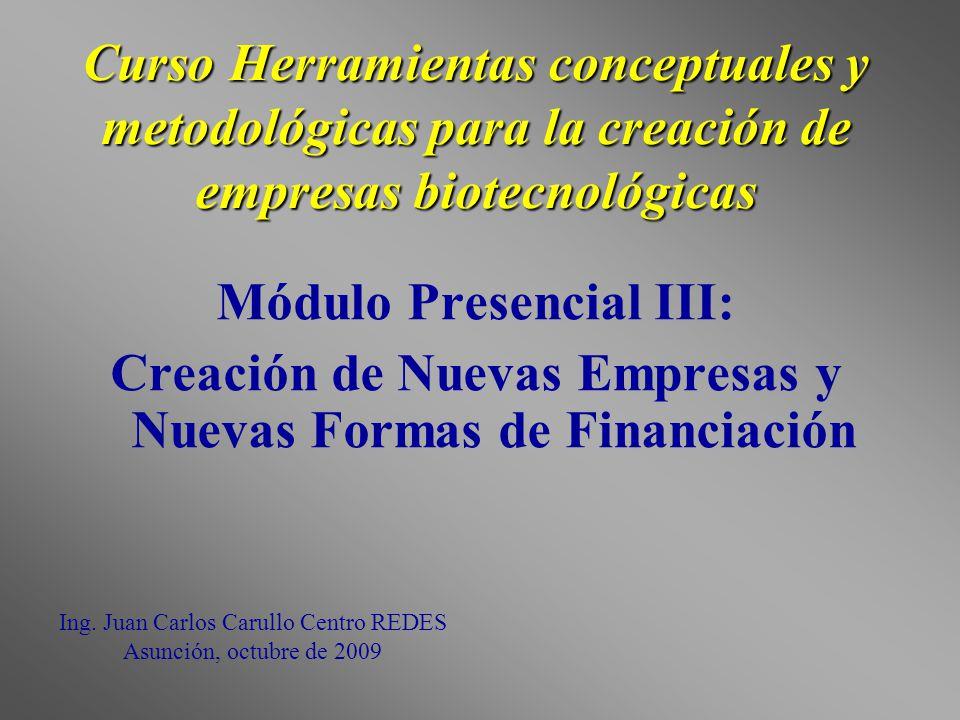 Curso Herramientas conceptuales y metodológicas para la creación de empresas biotecnológicas Módulo Presencial III: Creación de Nuevas Empresas y Nuev