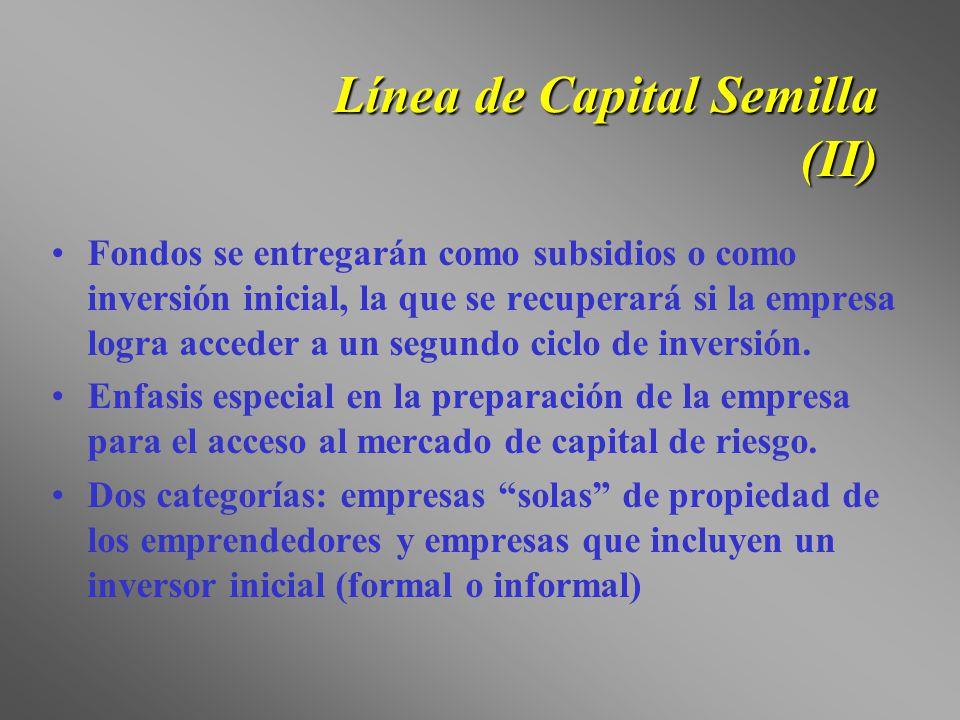 Línea de Capital Semilla (II) Fondos se entregarán como subsidios o como inversión inicial, la que se recuperará si la empresa logra acceder a un segu