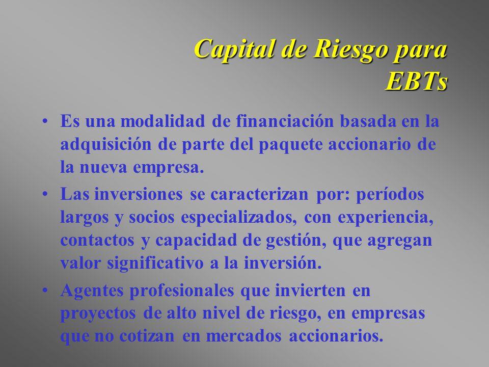 Capital de Riesgo para EBTs Es una modalidad de financiación basada en la adquisición de parte del paquete accionario de la nueva empresa. Las inversi