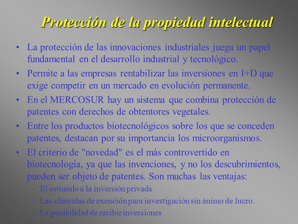 Protección de la propiedad intelectual La protección de las innovaciones industriales juega un papel fundamental en el desarrollo industrial y tecnoló