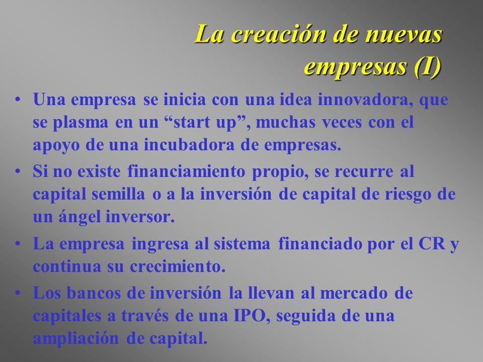 La creación de nuevas empresas (I) Una empresa se inicia con una idea innovadora, que se plasma en un start up, muchas veces con el apoyo de una incub