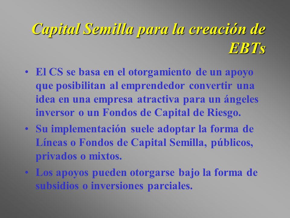 Capital Semilla para la creación de EBTs El CS se basa en el otorgamiento de un apoyo que posibilitan al emprendedor convertir una idea en una empresa