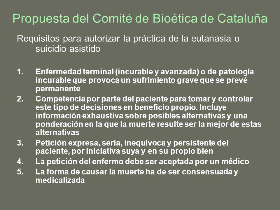 Propuesta del Comité de Bioética de Cataluña Requisitos para autorizar la práctica de la eutanasia o suicidio asistido 1.Enfermedad terminal (incurabl