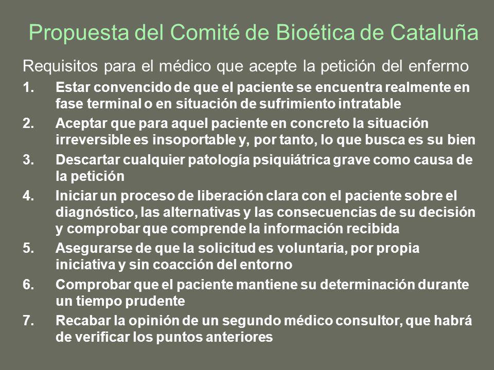 Propuesta del Comité de Bioética de Cataluña Requisitos para el médico que acepte la petición del enfermo 1.Estar convencido de que el paciente se enc