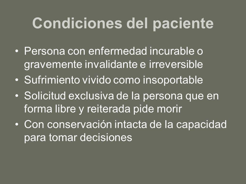 Condiciones del paciente Persona con enfermedad incurable o gravemente invalidante e irreversible Sufrimiento vivido como insoportable Solicitud exclu